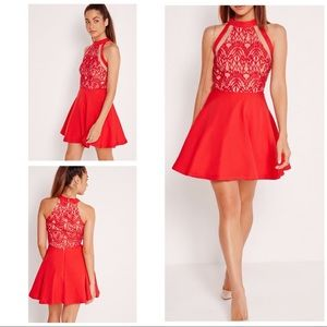 EUC Missguided Mesh Stripe Lace Skater Red Dress